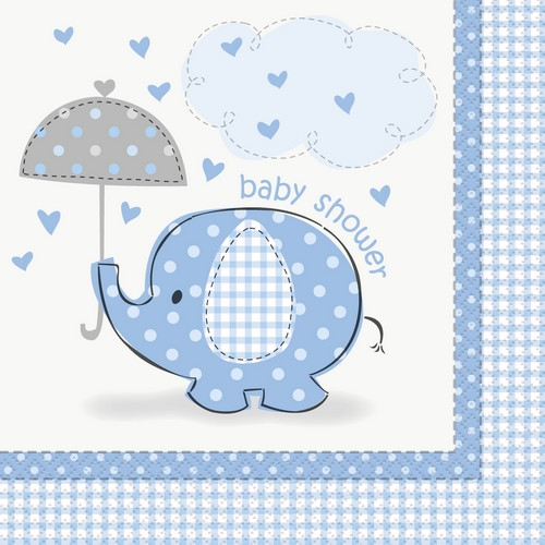 Servetter Elefant, Blå Baby Shower. 16st 33x33cm