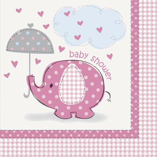 Servetter, Elefant, Rosa Baby Shower. 16st  33x33cm