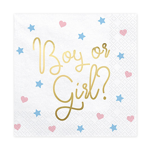 Servetter Boy or Girl?, Gender Reveal - 20st, 33x33cm