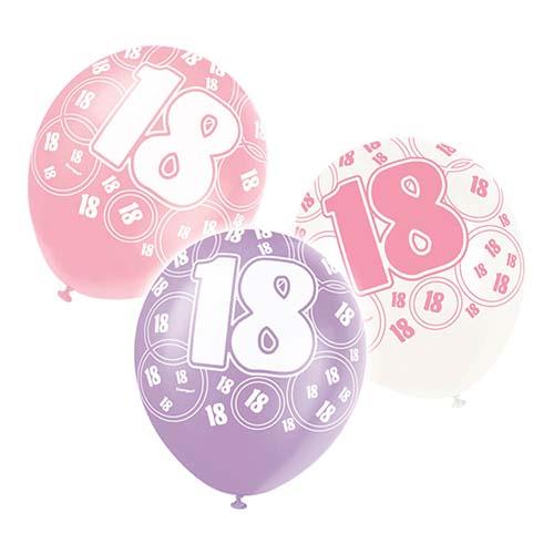 ballonger 18 år Ballonger 18 år, Rosa/Vita/Lila   6st   party land.se ballonger 18 år