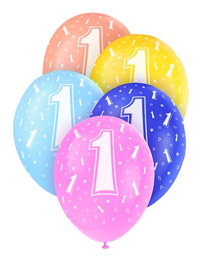 ballong 1 år Ballonger 1 år Blandade färger 5 st   party land.se ballong 1 år
