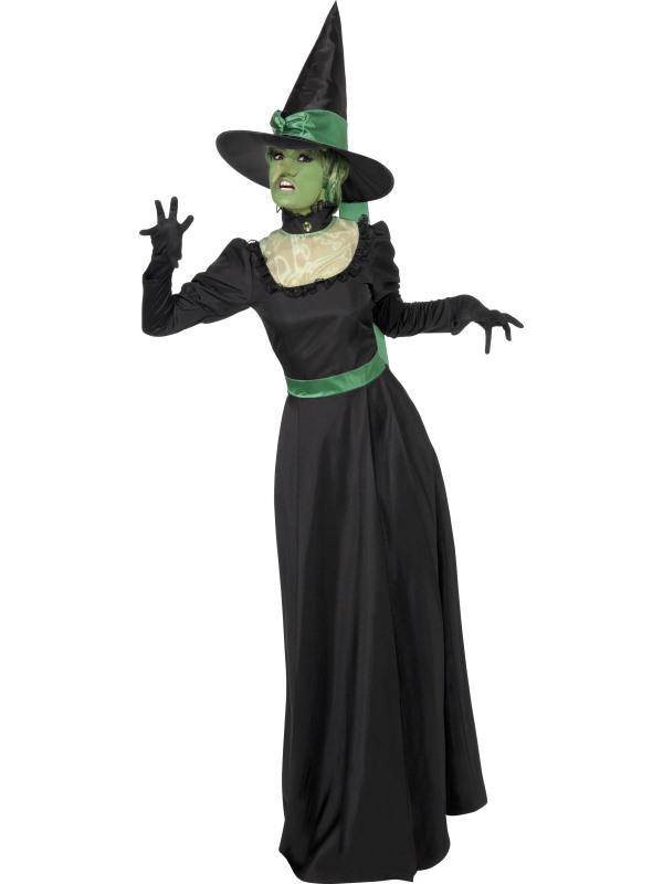 svart lång klänning häxa