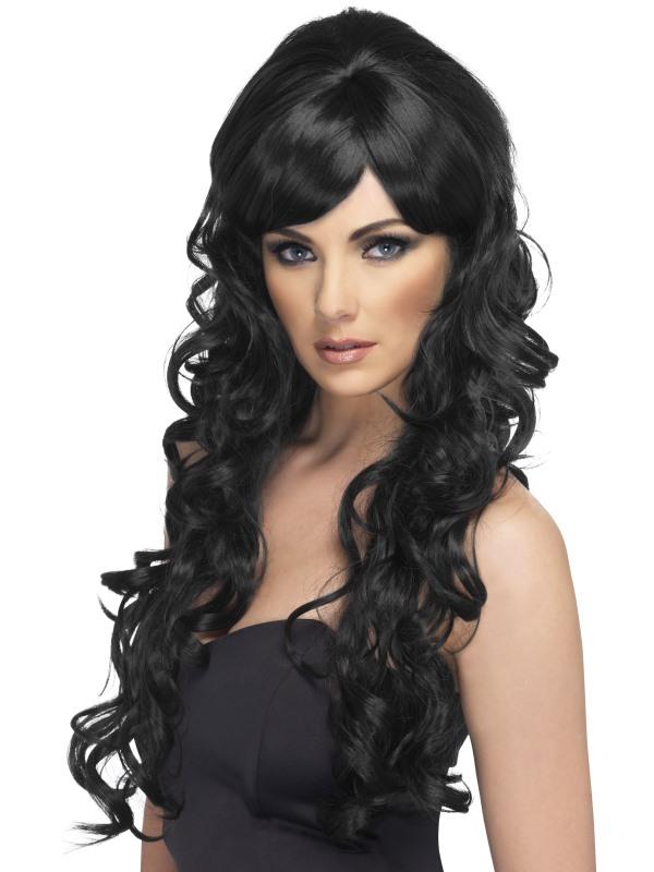 svart långt hår