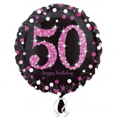 50 år Happy Birthday Folieballong, rosa glitter - 45cm