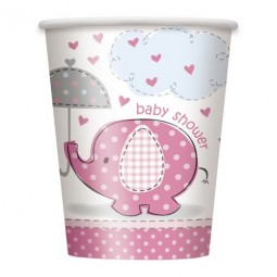 Muggar Elefant, Rosa Baby Shower. 8st