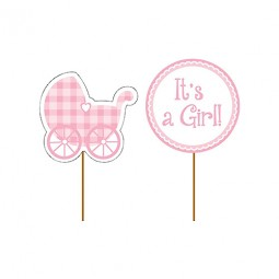 Cupcake Toppers It´s a Girl- 12st, ca. 9cm höga